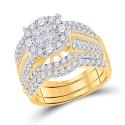 2 & 5/8 CTW Princess Diamond Bridal Wedding Ring 14kt Yellow Gold - REF-262H5R