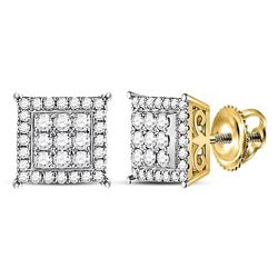 1/2 CTW Womens Round Diamond Square Earrings 14kt Yellow Gold - REF-47N6A