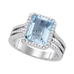 3 CTW Womens Emerald Aquamarine Diamond Solitaire Ring 14kt White Gold - REF-140W4H
