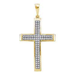 1/5 CTW Womens Round Diamond Medium Cross Pendant 10kt Yellow Gold - REF-17V6Y