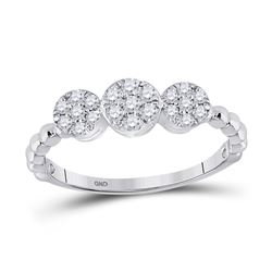 1/3 CTW Womens Round Diamond Beaded Triple Cluster Ring 10kt White Gold - REF-29F4W