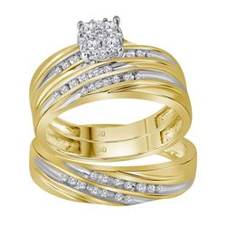 3/8 CTW His Hers Round Diamond Cluster Matching Wedding Set 10kt Yellow Gold - REF-58V2Y