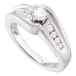 3/8 CTW Round Diamond Solitaire Bridal Wedding Engagement Ring 14kt White Gold - REF-70N3A
