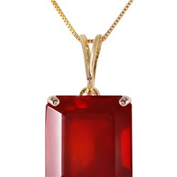 Genuine 7.5 ctw Ruby Necklace 14KT Yellow Gold - REF-62A6K