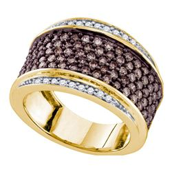 1 & 1/2 CTW Womens Round Brown Diamond Cocktail Ring 10kt Yellow Gold - REF-81T7V