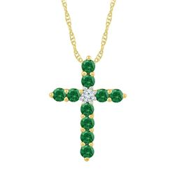 5/8 CTW Womens Round Lab-Created Emerald Cross Pendant 10kt Yellow Gold - REF-15X2T