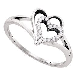1/8 CTW Womens Round Diamond Double Nested Heart Ring 10kt White Gold - REF-15R5X