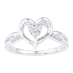 1/20 CTW Womens Round Diamond Solitaire Heart Ring 10kt White Gold - REF-17M3F