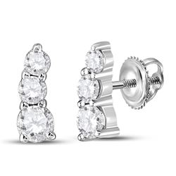 1/2 CTW Womens Round Diamond Fashion 3-stone Earrings 10kt White Gold - REF-54N5A