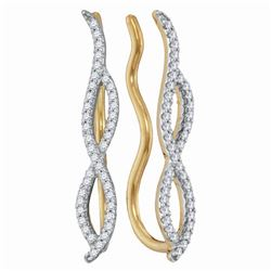 1/4 CTW Womens Round Diamond Infinity Climber Earrings 10kt Yellow Gold - REF-20H5R