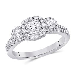 1 CTW Princess Diamond 3-stone Bridal Wedding Engagement Ring 14kt White Gold - REF-177H3R