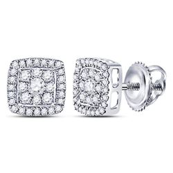 1/3 CTW Womens Round Diamond Square Cluster Earrings 14kt White Gold - REF-34W3H