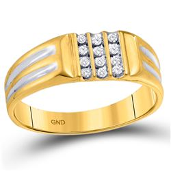 1/8 CTW Mens Round Diamond Triple Row Band Ring 10kt Yellow Gold - REF-21Y2N