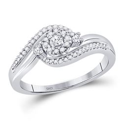1/5 CTW Womens Round Diamond Cluster Promise Ring 10kt White Gold - REF-20A5M