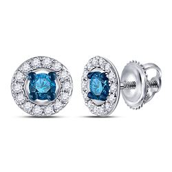 1/3 CTW Womens Round Blue Color Enhanced Diamond Stud Earrings 10kt White Gold - REF-16Y4N