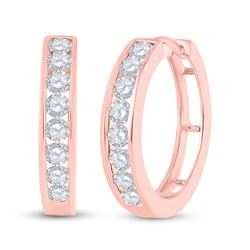 1 CTW Womens Round Diamond Hoop Earrings 10kt Rose Gold - REF-83V9Y