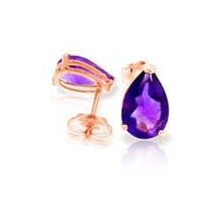 Genuine 3.15 ctw Amethyst Earrings 14KT Rose Gold - REF-21N2R