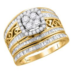 1 & 1/2 CTW Round Diamond Cluster Bridal Wedding Ring 14kt Yellow Gold - REF-126A2M