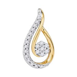 1/4 CTW Womens Round Diamond Teardrop Cluster Pendant 10kt Yellow Gold - REF-23V3Y