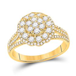 7/8 CTW Womens Round Diamond Halo Flower Cluster Ring 14kt Yellow Gold - REF-85H8R