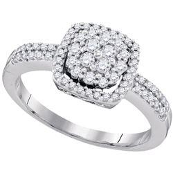 1/2 CTW Womens Round Diamond Square Cluster Ring 10kt White Gold - REF-40T3V