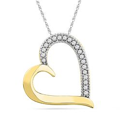 1/10 CTW Womens Round Diamond Heart Outline Pendant 10kt Yellow Gold - REF-10V9Y