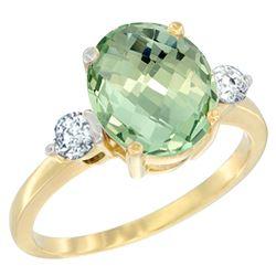 2.60 CTW Amethyst & Diamond Ring 10K Yellow Gold - REF-62K2W
