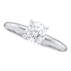 1/5 CTW Womens Round Diamond Solitaire Bridal Wedding Engagement Ring 14kt White Gold - REF-29F4W