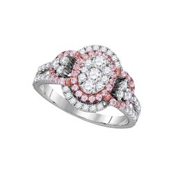 1 & 1/4 CTW Womens Round Pink Diamond Oval Cluster Ring 14kt White Gold - REF-136T4V