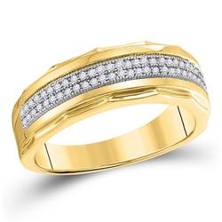 1/5 CTW Mens Round Diamond Wedding Scalloped Edge Band Ring 10kt Yellow Gold - REF-36F2W