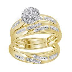 1/3 CTW His Hers Round Diamond Cluster Matching Wedding Set 14kt Yellow Gold - REF-58M2F