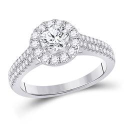 1 & 1/3 CTW Round Diamond Solitaire Bridal Wedding Engagement Ring 14kt White Gold - REF-306T7V