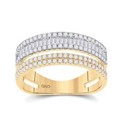 3/4 CTW Womens Baguette Round Diamond Parallel Band Ring 14kt Two-tone Gold - REF-47T6V