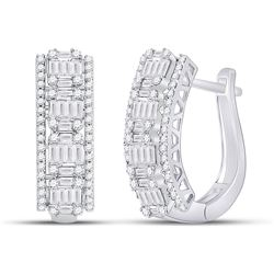 1 & 3/8 CTW Womens Baguette Diamond Fashion Cocktail Earrings 14kt White Gold - REF-156Y7N