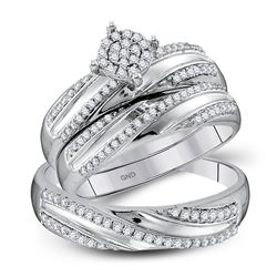 1/2 CTW His Hers Round Diamond Cluster Matching Wedding Set 10kt White Gold - REF-47T6V