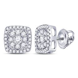 1/2 CTW Womens Round Diamond Square Cluster Earrings 14kt White Gold - REF-46F3W