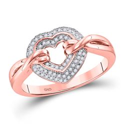 1/5 CTW Womens Round Diamond Heart Ring 10kt Rose Gold - REF-29V4Y