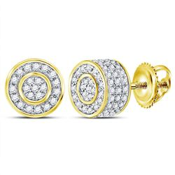 3/4 CTW Mens Round Diamond 3D Cluster Stud Earrings 10kt Yellow Gold - REF-30W7H