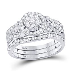 1/2 CTW Round Diamond Bridal Wedding Ring Band Set 10kt White Gold - REF-68X2T