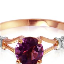 Genuine 0.92 ctw Amethyst & Diamond Ring 14KT Rose Gold - REF-28P4H