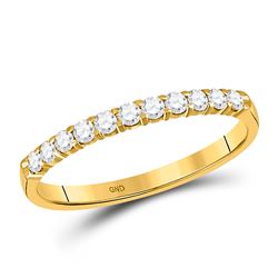 1/4 CTW Womens Round Diamond Wedding Single Row Band Ring 14kt Yellow Gold - REF-20H5R