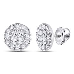 2 CTW Womens Princess Round Diamond Cluster Earrings 14kt White Gold - REF-180X7T