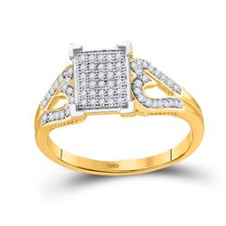 1/5 CTW Womens Round Diamond Square Cluster Heart Ring 10kt Yellow Gold - REF-25W3H