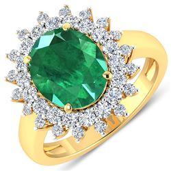 Natural 3.93 CTW Zambian Emerald & Diamond Ring 14K Yellow Gold - REF-169F5R
