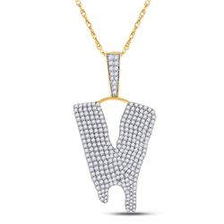 2 & 7/8 CTW Mens Round Diamond Dripping V Letter Charm Pendant 10kt Yellow Gold - REF-154W3H
