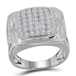 2 & 7/8 CTW Mens Round Diamond Square Cluster Ring 10kt White Gold - REF-190N8A