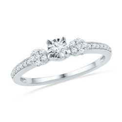 1/4 CTW Womens Round Diamond Solitaire Promise Ring 10kt White Gold - REF-20X5T