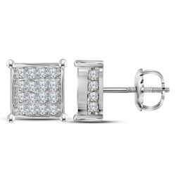 3/4 CTW Womens Round Diamond Square Cluster Earrings 10kt White Gold - REF-51V8Y