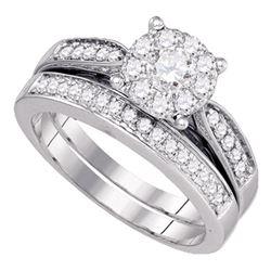 3/4 CTW Round Diamond Bridal Wedding Ring 14kt White Gold - REF-113T2V