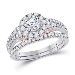 1 CTW Round Diamond Bridal Wedding Ring 14kt Two-tone Gold - REF-129W5H